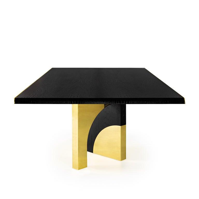 Modern Utopia Dining Table, Dark Oak and Brass, InsidherLand by Joana Santos Barbosa For Sale