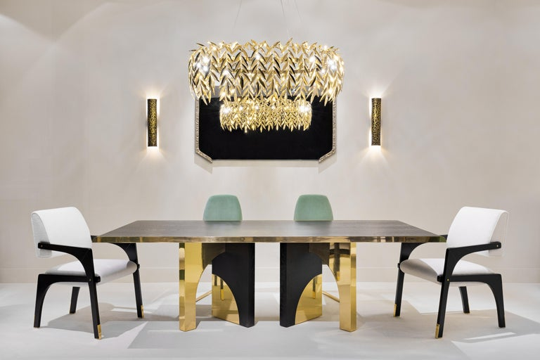 Portuguese Utopia Dining Table, Dark Oak and Brass, InsidherLand by Joana Santos Barbosa For Sale