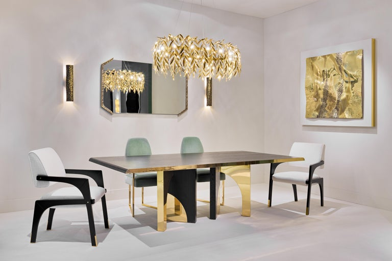 Lacquered Utopia Dining Table, Dark Oak and Brass, InsidherLand by Joana Santos Barbosa For Sale