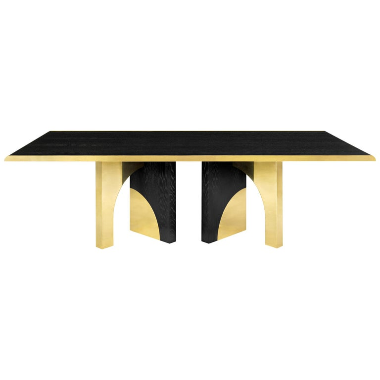 Utopia Dining Table, Dark Oak and Brass, InsidherLand by Joana Santos Barbosa For Sale