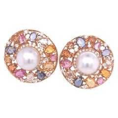 Utopia Rose Gold Pearl Sapphire and Diamond Earrings