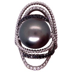 Utopia White Gold Tahitian Pearl Black and White Diamond Ring