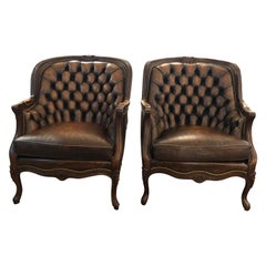 Utterly Sublime Pair of Tufted Burnished Leather Club Chairs
