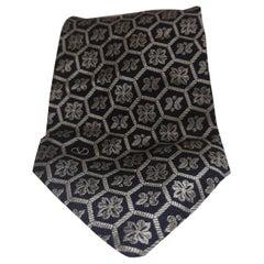 ùValentino blue silver silk tie