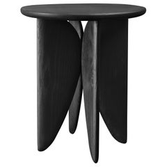 V, Burned White Oak Stool from Collection Noviembre by Joel Escalona