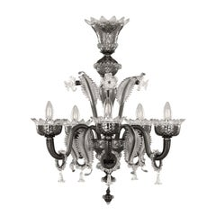 Venetian style Chandelier 5 arms Grey Murano Glass Clear Details by Multiforme