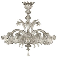 V Classic 900 Chandelier, 5 Lights, Light Grey Murano Glass by Multiforme