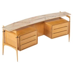 V. Dassi Drawers Maple Wood and Curved Marble Mid-Century Modern, Italy, 1950s