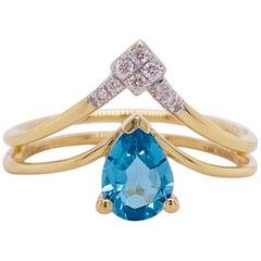 V Diamond Ring, 14 Karat Yellow Gold Pear Blue Topaz, Gabriel & Co. LR51454Y45BT