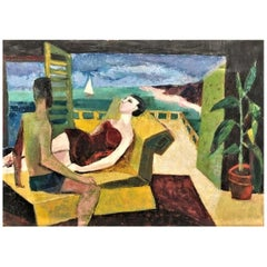 V. Finn, A Couple in Bathing Suits, Hungarian Modernist O/C Painting, Ca. 1950's