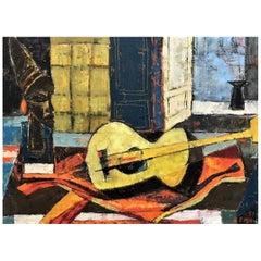 V. Finn, Still Life w/Guitar, Hungarian Mid-Century Modernist OC Painting, 1957