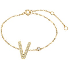 V Initial Bezel Chain Bracelet