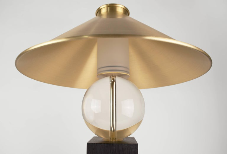 British Contemporary V Lamp Extra Large, Geometric Oak Base, Glass Sphere and Brass For Sale