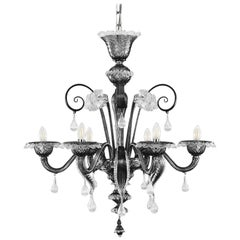 Classic Chandelier, 6 Lights, Grey and Clear Murano Glass V-magic by Multiforme