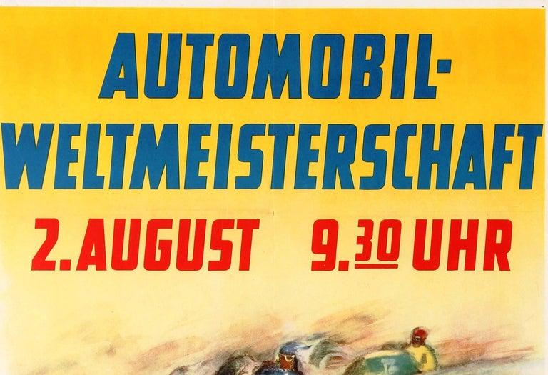 Original Vintage Grand Prix F1 Motor Sport Poster Weltmeisterschaft Nurburgring For Sale 1