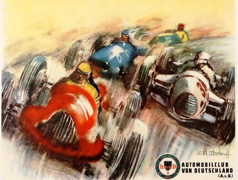 Original Vintage Grand Prix F1 Motor Sport Poster Weltmeisterschaft Nurburgring For Sale 2