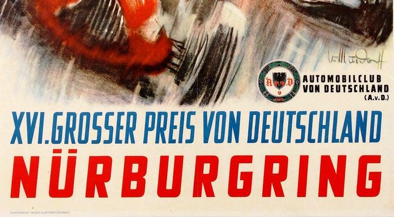 Original Vintage Grand Prix F1 Motor Sport Poster Weltmeisterschaft Nurburgring For Sale 3