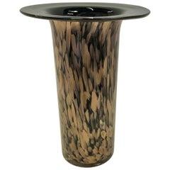 V. Nason Attributed Modern Aventurine Black Murano Glass Cylindrical Vase, 1970s