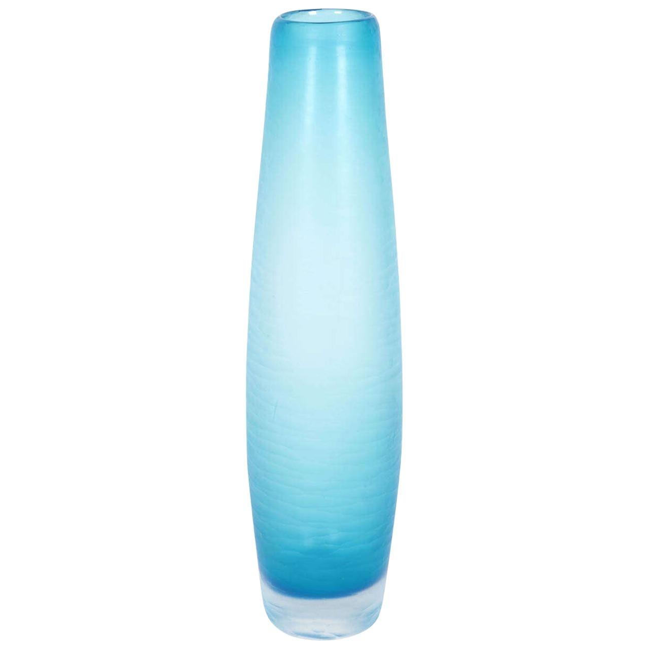 V. Nason Battuto Cut Blue Murano Glass Vase, circa 1980s-1990s