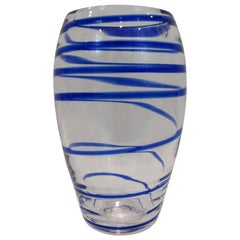 V. Nason & C. Italian Murano Glass Vase with Blue Spiral Stripe