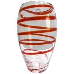 V. Nasson & C. Murano Art Glass Vase with Red Spiral Stripes