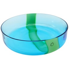 V. Nasson & Co. Vintage Hand Blown Murano Glass Bowl Blue and Green