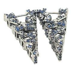 v Shape Blue Sapphire and Diamond Hoops