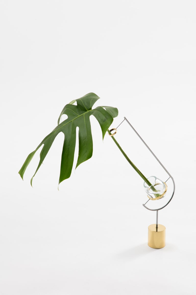 V3 vase - Monstera by Paulo Goldstein, Brazilian contemporary design is part of a series of vases inspired in the observation of the natural lines of the flowers and leaves held in them, where the lines of the vases were designed to enhance and