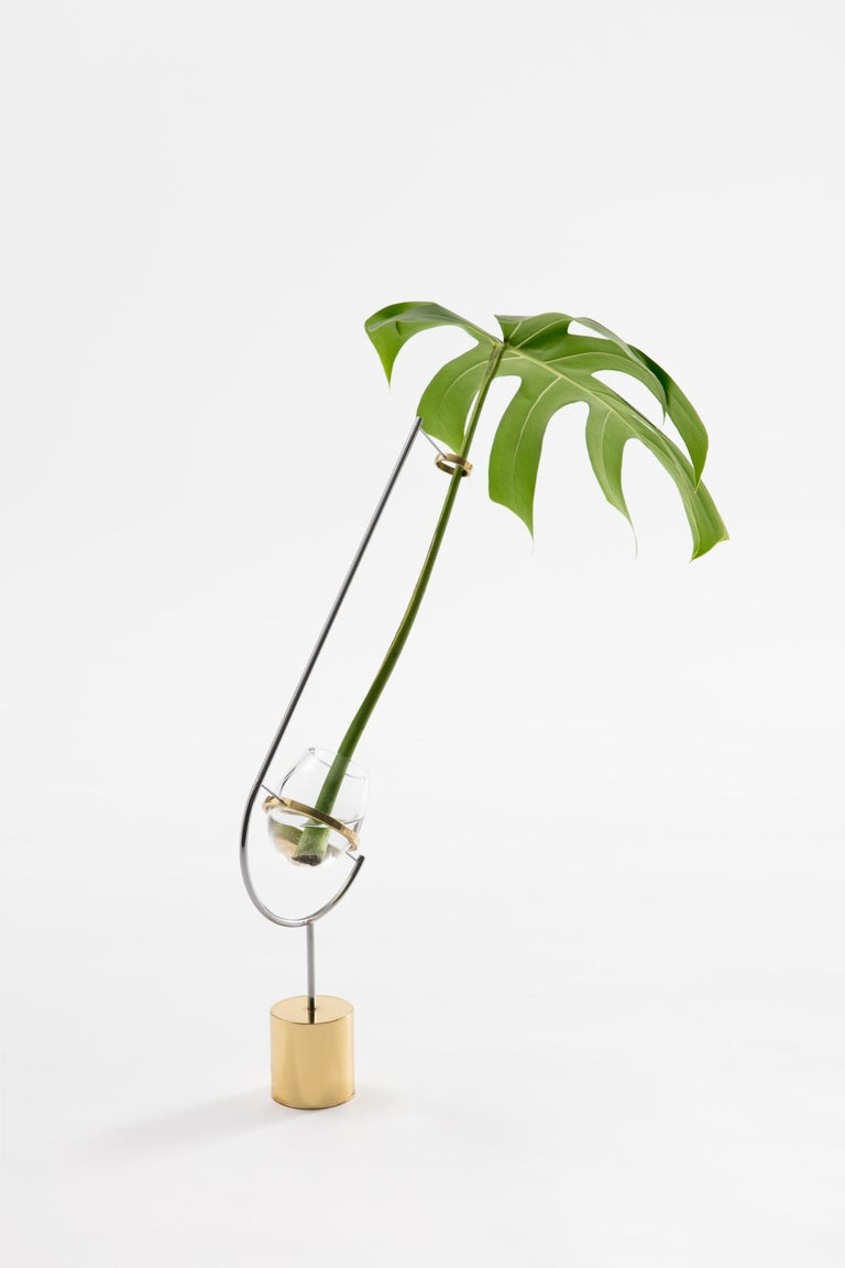 International Style Contemporary minimalist brass and glass solitary Vase V3 For Sale