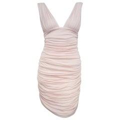 Va Va Voom Balmain Pink V Neck Gathered Bodycon Dress 42 EU