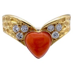 V&A Winged Coral Heart Cabochon Diamonds 18 Karat Yellow White Gold Love Token