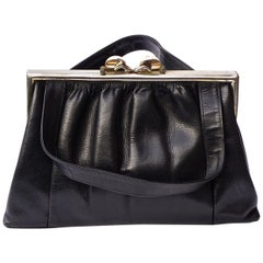 Vaca Lisa Argentina Black Leather Handbag with Silver Tone Fittings