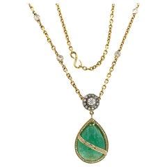 Vacheron Constantin 18 Karat Yellow Gold 2.86 Carat Diamond and Emerald Necklace