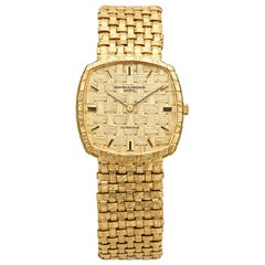 Vacheron Constantin 18 Karat Yellow Gold Basket Weave Watch