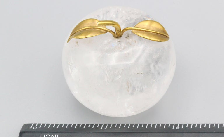Vacheron Constantin 18 Karat Yellow Gold and Rock Crystal Apple Paperweight For Sale 1