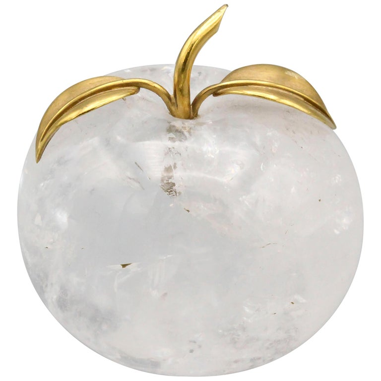 Vacheron Constantin 18 Karat Yellow Gold and Rock Crystal Apple Paperweight For Sale