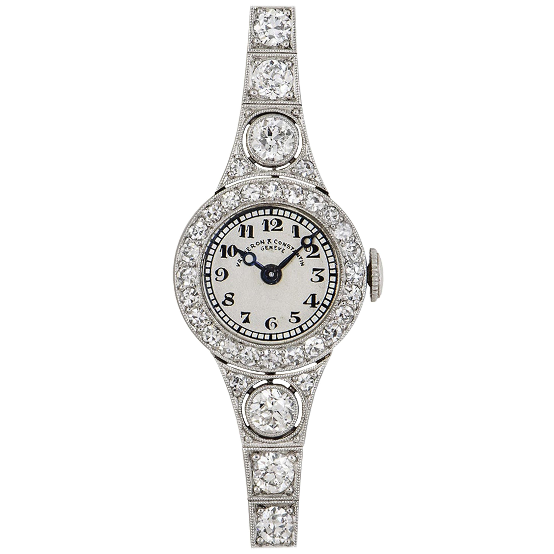 Vacheron Constantin 1920s Vintage Platinum Silver Dial Diamond Set Dress Watch