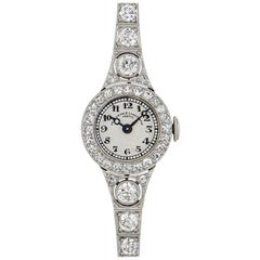Vacheron Constantin 1920s Vintage Platinum Silver Dial Diamond Set Dress Watch