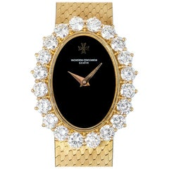 Vacheron Constantin Dress Watch Ladies Yellow Gold Onyx Dial Diamond 18702/201