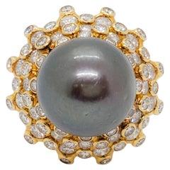 Vacheron & Constantin Estate Tahitian Pearl and White Diamond Cocktail Ring
