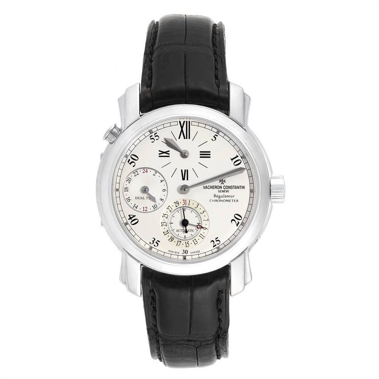 Vacheron Constantin Malte Dual Time Regulator White Gold Mens Watch 42005. Automatic self-winding movement.Rhodium-plated, fausses cotes decoration, straight-line lever escapement, monometallic balance adjusted to 5 positions, shock absorber,