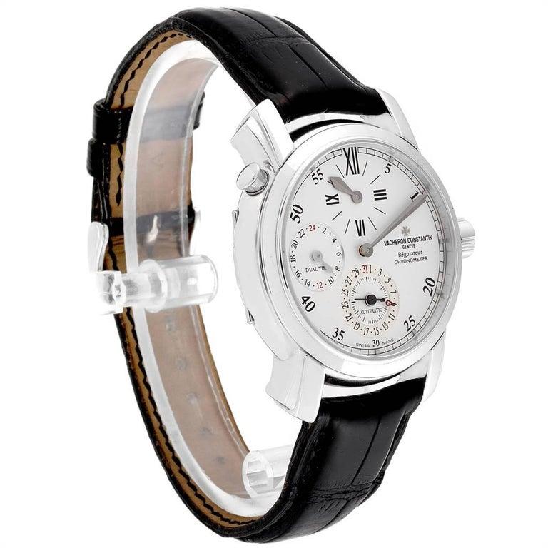 Vacheron Constantin Malte Dual Time Regulator White Gold Men's Watch 42005 In Excellent Condition For Sale In Atlanta, GA
