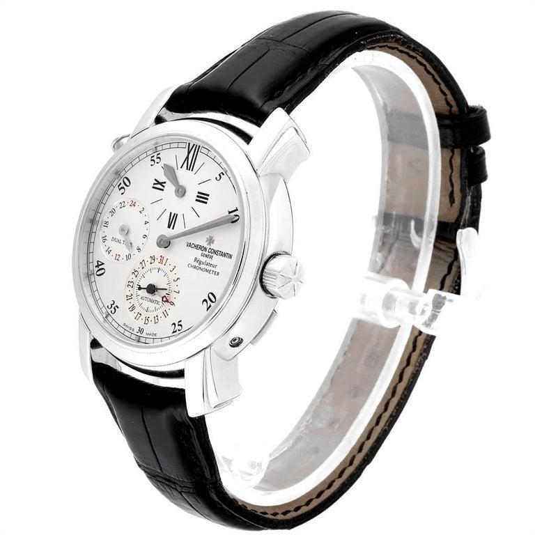 Men's Vacheron Constantin Malte Dual Time Regulator White Gold Men's Watch 42005 For Sale