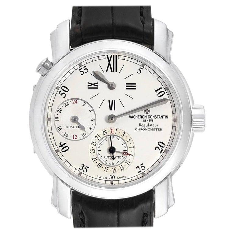 Vacheron Constantin Malte Dual Time Regulator White Gold Men's Watch 42005 For Sale