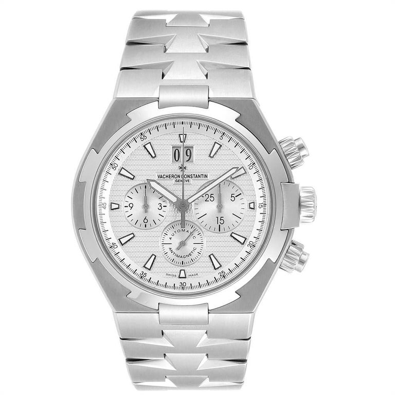 Vacheron Constantin Overseas Chronograph Silver Dial Mens Watch 49150. Automatic self-winding chronograph movement. Brushed stainless steel case 42.5 mm in diameter. Screwd down crown and pushers. Logo on a crown. Solid case back with 'overseas'