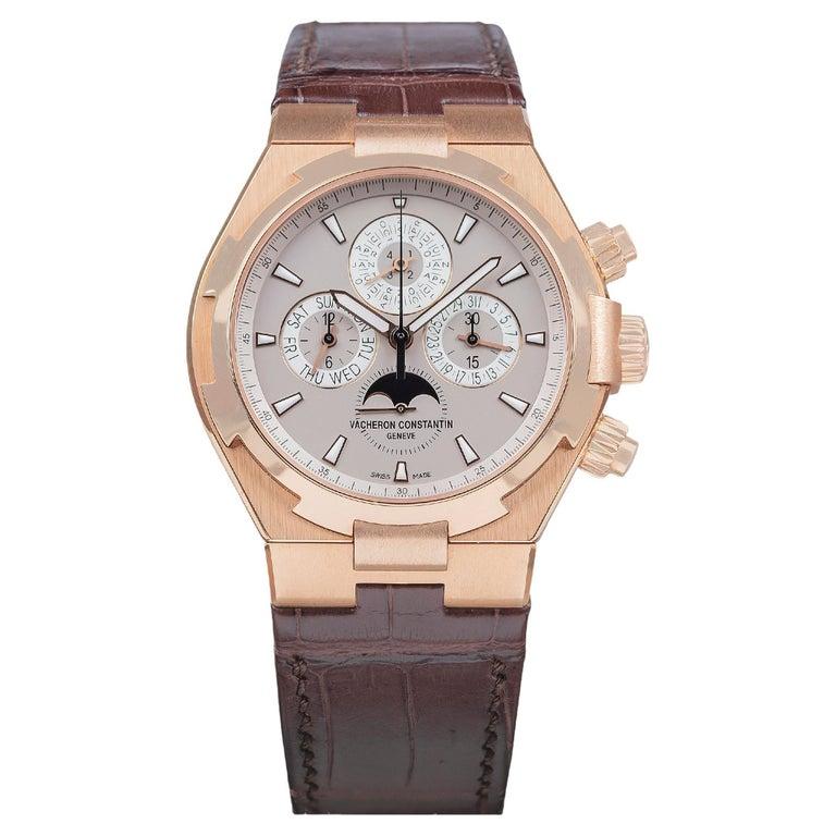 Vacheron Constantin Overseas Watch Chronograph Perpetual Calendar Rose Gold Case For Sale