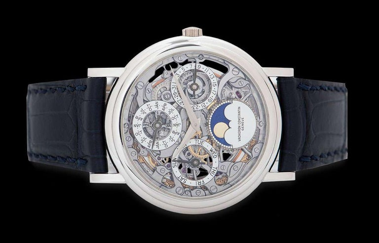 Vacheron Constantin Perpetual Calendar Platinum Skeleton Dial 43032/6 In Excellent Condition For Sale In London, GB
