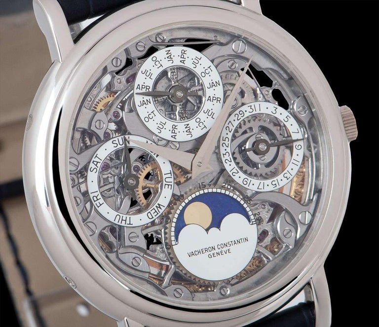 Men's Vacheron Constantin Perpetual Calendar Platinum Skeleton Dial 43032/6 For Sale