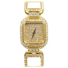 Vacheron Constantin Yellow Gold and Diamond Pave Ladies Mechanical Wristwatch
