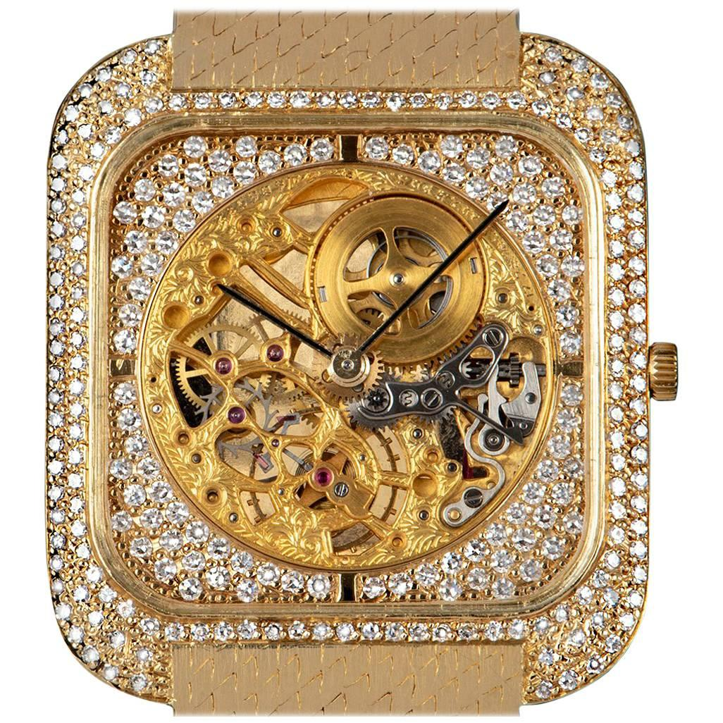 Vacheron Constantin Yellow Gold Diamond Set Skeleton Dial Manual Wristwatch